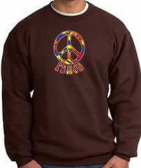Funky 70s Peace World Peace Sign Symbol Adult Sweatshirt - Brown