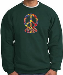 Funky 70s Peace World Peace Sign Symbol Adult Sweatshirt - Dark Green