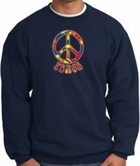 Funky 70s Peace World Peace Sign Symbol Adult Sweatshirt - Navy