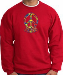 Funky 70s Peace World Peace Sign Symbol Adult Sweatshirt - Red
