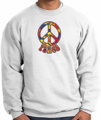 Funky 70s Peace World Peace Sign Symbol Adult Sweatshirt - White