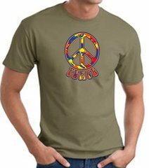 Funky 70s Peace World Peace Sign Symbol Adult T-shirt - Army Green