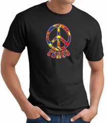 Funky 70s Peace World Peace Sign Symbol Adult T-shirt - Black