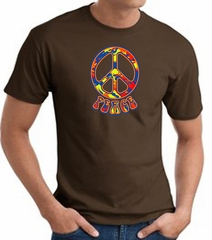 Funky 70s Peace World Peace Sign Symbol Adult T-shirt - Brown