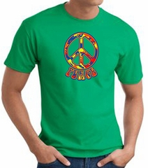 Funky 70s Peace World Peace Sign Symbol Adult T-shirt - Kelly Green