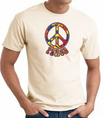 Funky 70s Peace World Peace Sign Symbol Adult T-shirt - Natural