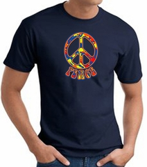Funky 70s Peace World Peace Sign Symbol Adult T-shirt - Navy