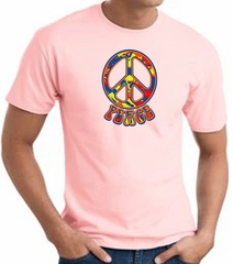 Funky 70s Peace World Peace Sign Symbol Adult T-shirt - Pink