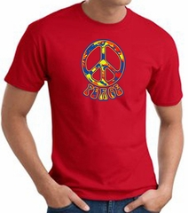 Funky 70s Peace World Peace Sign Symbol Adult T-shirt - Red