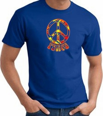 Funky 70s Peace World Peace Sign Symbol Adult T-shirt - Royal