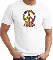 Funky 70s Peace World Peace Sign Symbol Adult T-shirt - White