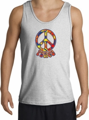Funky 70s Peace World Peace Sign Symbol Adult Tanktop - Ash