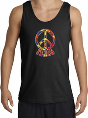 Funky 70s Peace World Peace Sign Symbol Adult Tanktop - Black