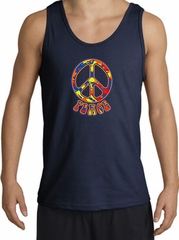 Funky 70s Peace World Peace Sign Symbol Adult Tanktop - Navy