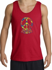 Funky 70s Peace World Peace Sign Symbol Adult Tanktop - Red