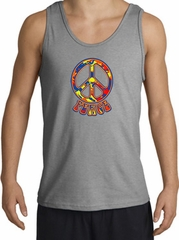 Funky 70s Peace World Peace Sign Symbol Adult Tanktop - Sports Grey