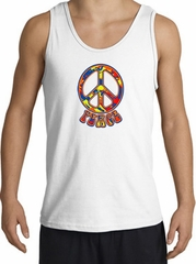 Funky 70s Peace World Peace Sign Symbol Adult Tanktop - White