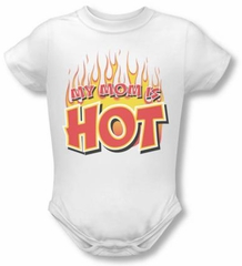 Funny Baby Infant Romper - My Mom is Hot - White