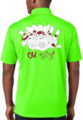"""Funny Bowling """"OH"""" Polo Shirts - Front & Back - Neon Green"""