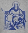 Funny Hockey T-shirt - Jesus Saves Goalie Adult Gray T-shirt