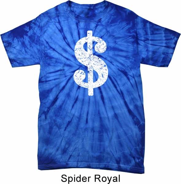4737bd79d Funny Shirt Distressed Dollar Sign Spider Tie Dye Tee T-shirt ...