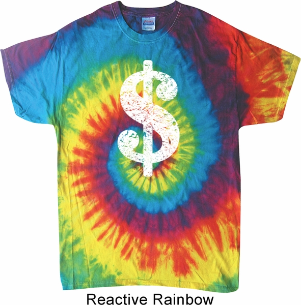2262a666a Funny Shirt Distressed Dollar Sign Tie Dye Tee T-shirt - Distressed ...
