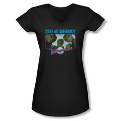Galaxy Quest Shirt Juniors V Neck Cute But Deadly Does Black Tee T-Shirt