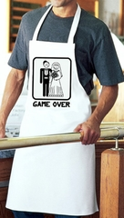 Game Over Apron - Funny Married Bride and Groom White Apron