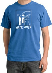 Game Over Ceremony Pigment Dyed Medium Blue T-shirt - White Print