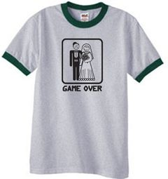 Game Over Funny Marriage Bride and Groom Ringer T-Shirt