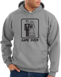 Game Over Hoodie Funny Marriage Athletic Heather Hoody � Black Print