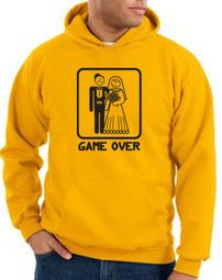 Game Over Hoodie Sweatshirt Funny Marriage Gold Hoody � Black Print