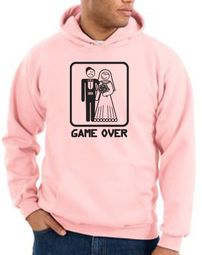 Game Over Hoodie Sweatshirt Funny Marriage Pink Hoody � Black Print