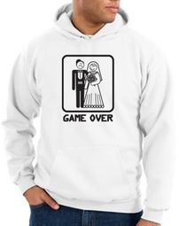 Game Over Hoodie Sweatshirt Funny Marriage White Hoody � Black Print
