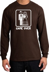 Game Over Long Sleeve Shirt Funny Marriage Brown Shirt - White Print