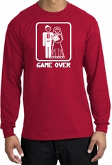 Game Over Long Sleeve Shirt Funny Marriage Red Shirt - White Print