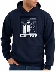 Game Over Marriage Ceremony Hoodie Funny Navy Hoody - White Print
