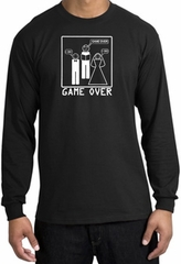 Game Over Marriage Ceremony Long Sleeve Black Shirt - White Print