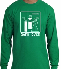 Game Over Marriage Ceremony Long Sleeve Kelly Green Shirt White Print