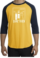 Game Over Marriage Ceremony Raglan Gold/Navy Shirt - White Print