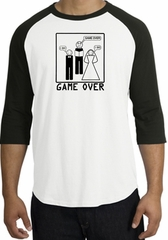 Game Over Marriage Ceremony Raglan White/Black Shirt - Black Print
