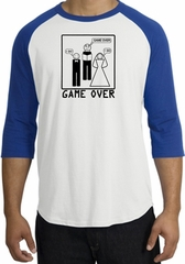 Game Over Marriage Ceremony Raglan White/Royal Shirt - Black Print