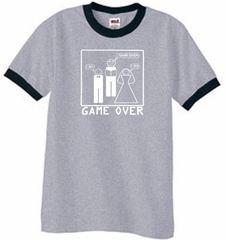 Game Over Marriage Ceremony Ringer Heather Grey/Black Tee White Print