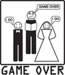 Game Over Marriage Ceremony Ringer Heather Grey/Navy Tee White Print