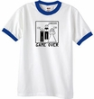 Game Over Marriage Ceremony Ringer White/Royal Tee - Black Print