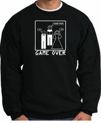 Game Over Marriage Ceremony Sweatshirt Funny Black - White Print