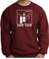 Game Over Marriage Ceremony Sweatshirt Funny Maroon - White Print