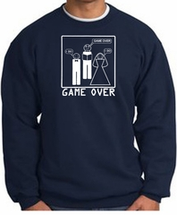 Game Over Marriage Ceremony Sweatshirt Funny Navy - White Print