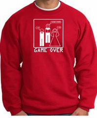 Game Over Marriage Ceremony Sweatshirt Funny Red - White Print