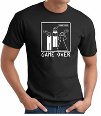 Game Over Marriage Ceremony T-shirt Funny Black Tee - White Print